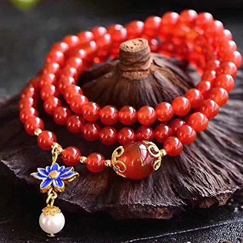 GZMUS Feng Shui Ricchezza Braccialetto Naturale Agata Rossa Bracciale Multi-Loop Cloisonne Arrosto Blue Lotus Perle Buddha di Perle Attirano Fortunato Regalo per Uomo Donna Coppia Migliore Amico