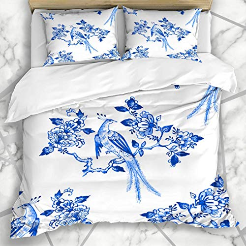 Soefipok Bettbezug-Sets Fliesen Aquarell Muster Delfter Blau Niederlande Aquarell Blumen Vogel Porzellan Antik Holland Mikrofaser Bettwäsche mit 2 Kissenbezügen