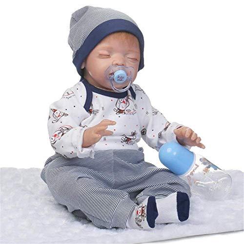 Reborn Baby Doll 22inch Weiches Vinyl Silikon Babys Reborn Baby Doll Realistisch Real aussehende Neugeborene Puppen Junge Mädchen Jungen Spielzeug (Farbe: Foto Farbe, Größe: 55cm)