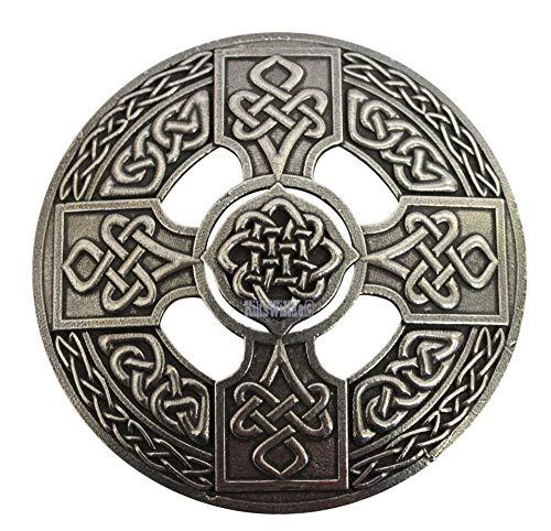 Gaelic Themes Celtic Cross Sash Shawl Plaid Brooch Pin