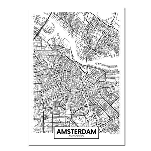 Terilizi Zwart Wit Amsterdam hoofdstad kaart canvas poster muur kunstdruk schilderij Nordic decoratieve afbeelding deco 50X70cm geen lijst