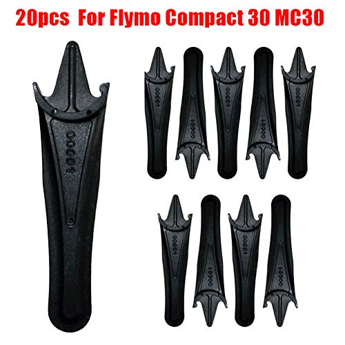 Fansipro 20pcs Plastic Blades for Flymo Compact 30 MC30 Lawnmower Black, 87 MM, Black