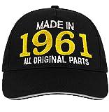 Bombo Hecho en 1961 Todas Las Piezas Originales^Sombrero de Fiesta de cumpleaños de 60 años, Color Negro.