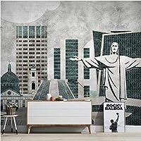 Iusasdz カスタム3Dレトロなノスタルジックなランドマーク建物都市背景壁紙壁画150X120Cm