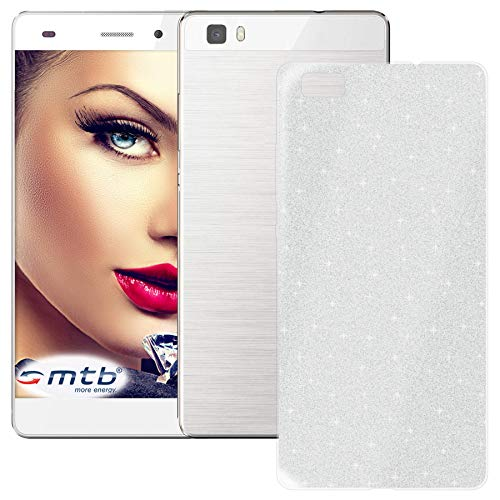 mtb more energy® TPU Hülle Shine für Huawei P8 Lite (ALE-L21, 5.0'') - Silber - Glitzer-Effekt - flexibel - Schutzhülle Hülle Cover Tasche