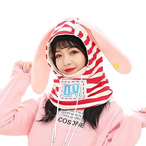 COSONE1 Mascarilla de la Cara del Sombrero del Casco de esquí del Invierno for Las Mujeres - Cubiertas Engranajes de Clima frío for Esquiar, Snowboard, Motocicleta, equitación (Color : Red)