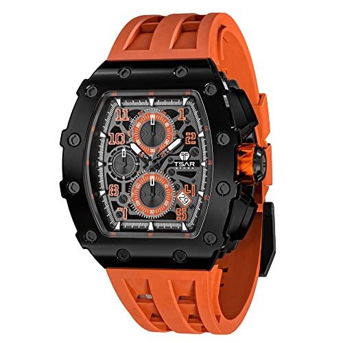 Herren Uhr TSAR BOMBA Tonneau Luxus Armbanduhr Herren Saphirglas Japanisches Quarzwerk Silikonband 5ATM Wasserdicht Chronograph Klassisches Design Leuchtendes Taucher Männer