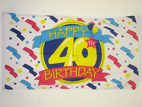 AZ FLAG Drapeau Joyeux Anniversaire 40 Ans 150x90cm - Drapeau Happy Birthday 90 x 150 cm - Drapeaux