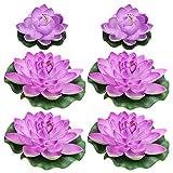 STOBOK 6 Piezas de Flor de Loto Flotante Artificial con Almohadilla de Lirio de Agua Plantas para El Hogar Jardín Patio Estanque Piscina Acuario Decoración