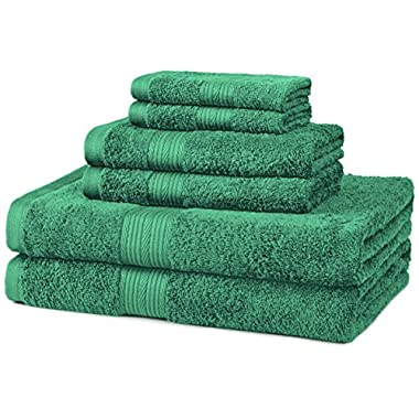 AmazonBasics Fade-Resistant 6-Piece Cotton Towel Set, Teal