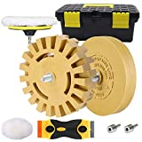 Decal Remover Eraser Wheel, GOH DODD Rubber Wheel Sticker Adhesive Pinstripe Vinyl Graphics Removal Tool with Wool Buffing Pad, Plastic Razor Blades, Backing Pad and Drill Adapter for Cars, RV, Boats