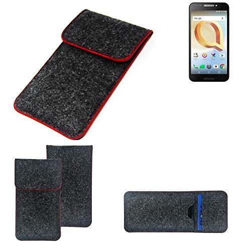 K-S-Trade Handy Schutz Hülle Für Alcatel A30 Plus Schutzhülle Handyhülle Filztasche Pouch Tasche Hülle Sleeve Filzhülle Dunkelgrau Roter Rand