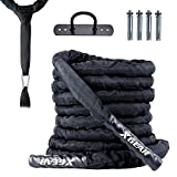 XGEAR Heavy Battle Rope ,Anchor Strap Kit/ Wall Hanger Included - Exercise Training Rope 100% Poly Dacron/Undulation Ropes for Strength Training, Cardio Workout, Climbing - 1.5' in Dia, 30ft / Yellow