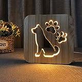 Guajave en Bois LED Veilleuse Animal en Forme de 3D Chargement USB Lampe Bureau Décoration pour Chambre - Chien