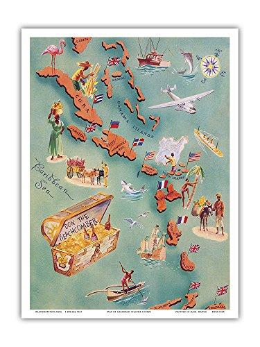 Mappa delle Isole dei Caraibi–Bahamas–Isole Vergini americana–Bevande Slot con Liste di tipi di rum–Don The Beach Comber Tiki Bar e ristorante–Vintage Illustrierte cartina c.1940s–hawaiianischer Stampa Artistica, bianco, 23cm x 31cm