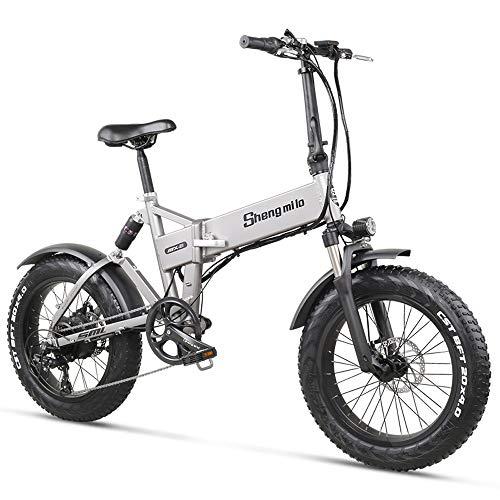 MX21 500W 20 pollici Bicicletta elettrica pieghevole 4.0 Fat Tire Mountain Bike Beach Bike per uomo Donna Sospensione completa (12.8Ah)