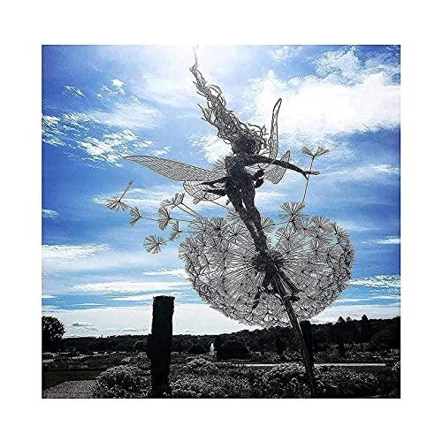 Cakunmik Feen Und Löwenzahn Tanzen Zusammen Yard Decorations-Edelstahl Garten Fairy Ornamente, Metall Fairy Sculpture Garten Löwenzahn Für Den Außenbereich,Style 1