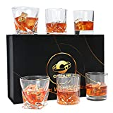 Whiskey Glasses-COPLIB 11 OZ Rocks Glasses With Luxury Box,Set of 6|3 styles Crystal Old Fashioned Whiskey Glasses |Perfect for Whiskey Lovers, Durable Glasses for Scotch, Bourbon, Cocktail