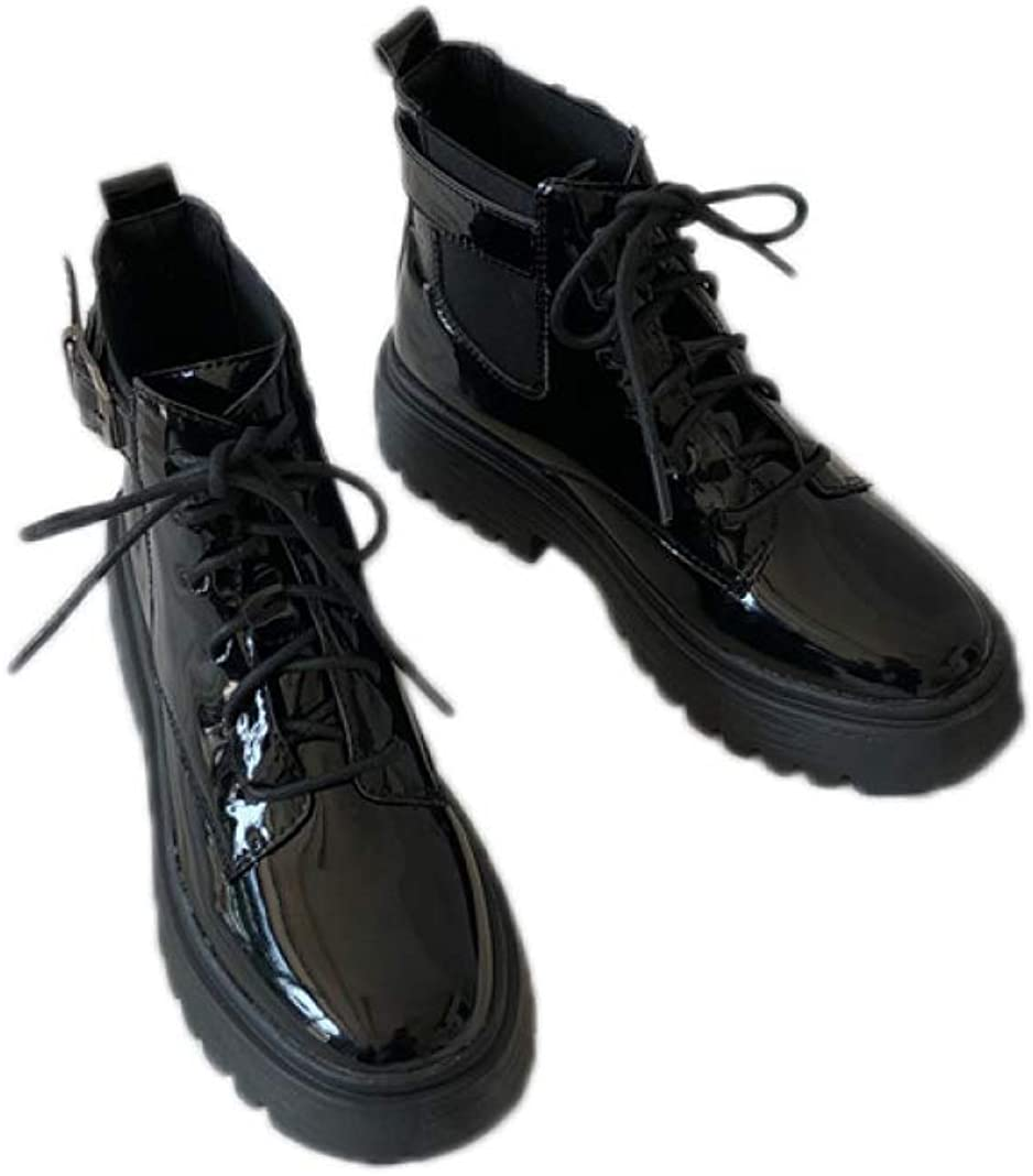 Max 47% OFF Women Chunky Mid Heel Martin Waterproof Ankle All items in the store Roun Boots Leather