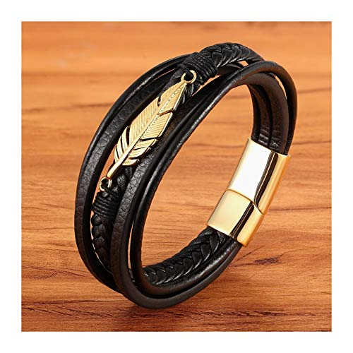 Personalised Multi-layer Leather Feather Shape Accessories Men's Bracelet Stainless Steel Leather Bracelet For Special Birthday Present for Men (Length : 23cm, Metal Color : Gold)