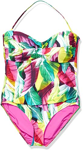 La Blanca Women's Bandeau One Piece Swimsuit, red//Tropic of The Day, 10