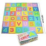 Puzzlematte XXL mit 110 Teilen für Kinder aus rutschfestem EVA - 3,3m² große Spielmatte, zusammensteckbar inkl. Rand-Teile 30 x 30 x 1 cm - Kinderteppich, Puzzle mit Zahlen und Buchstaben...