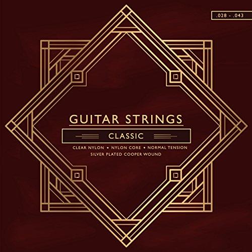 Nylon-Gitarrensaiten für Akustik-Gitarre I Konzertgitarre, Kindergitarre I Voller und weicher Klang für Western-Gitarre I Premium-Qualität (.028-.043)