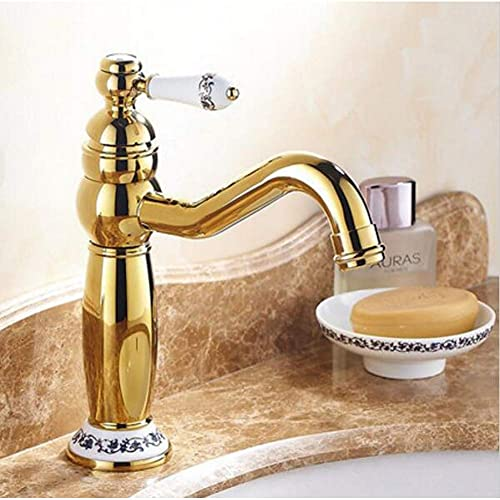 Grifo,4 grifos mezcladores Estilo para baño/Grifo para Lavabo,Grifo una Sola Palanca para Lavabo montado en la Cubierta un Solo Orificio,Grifo Dorado