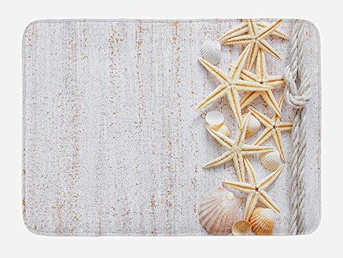 Muschels Badematte, Muscheln und Seestern mit marineblauem Seil in vertikaler Richtung, Holzoberfläche, Plüsch-Matte mit rutschfester Unterseite, elfenbeinfarben, 60 x 40 cm