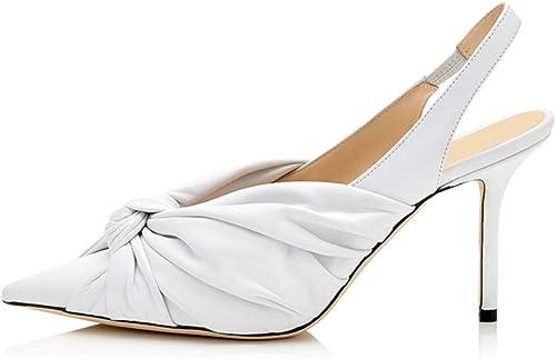 LYWLJG Las damenes de Moda de tacón Alto en Punta del Dedo del pie Correas del Tobillo Sandalias Slingback Vestido de Fiesta de Noche schuhe de la Corte