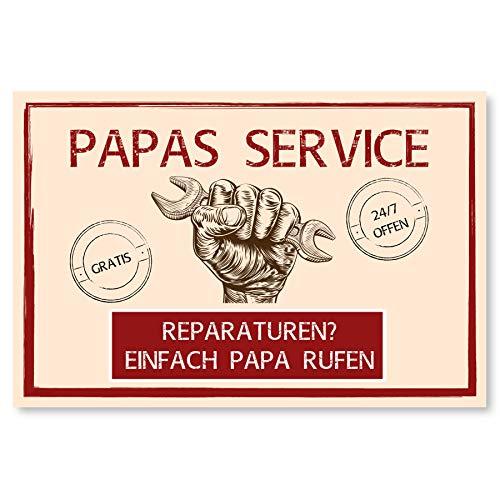 Werkstatt Schild als Geschenk für Papa zum Vatertag - Geschenkideen für den Vater zu Weihnachten oder Geburtstag - 30x20 cm Kunststoff Papas Service
