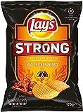 Lay's Strong Hot Chicken Wings - 5 bolsas por set - 125 g por bolsa - Chips crujientes - Picante ahumado y fuerte - Picante medio a extra picante - Combinación perfecta para cualquier tipo de cerveza