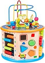 BATTOP 8 in 1 Multifunction Wooden Activity Cube Toys,Large Baby Educational Wooden Bead Maze Toys for Boys & Girls Activity Center