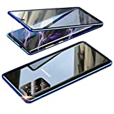 Funda Compatible Samsung Galaxy S20 FE, Carcasa Anti-Choques y Anti- Arañazos, Adsorción Magnética conchoques de Metal con 360 Grados Protección Case Cover Transparente Vidrio Templado Cubierta,Azul