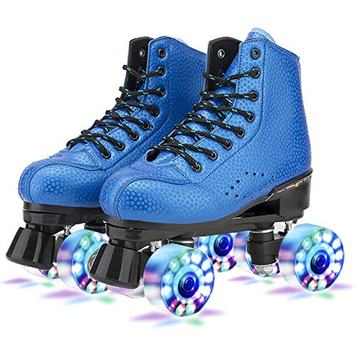 YPYGYB Roller Skates for Women/Kids, Rollschuhe Für Damen/Herren, LED Quad Skates for Kinder Jugen, Classic High Top Double Line Skates, Outdoor Unisex Flash Wheel Roller Skating,Blue1-40