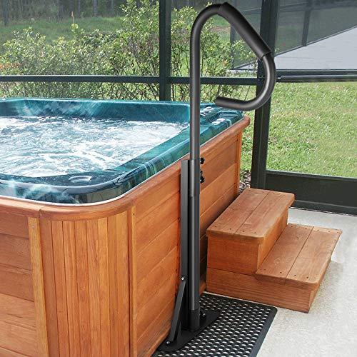 "VEVOR Hot Tub Handrail 600LBS Capacity Spa Side Handrail 56"" Slide-Under Base Spa Steps Hot Tub..."