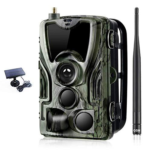 2G Wildkamera Fotofalle 16MP 1080P mit Handy übertragung, IP65 Wasserdichte Jagdkamera mit bewegungsmelder 36 Pcs Low-Glow 940nm Infrarot-LEDs, Infrarot-Nachtsicht 20m Mit SD-Karte und Solarbatterie