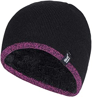 Heat Holders Women's Thick Fleece Lined Winter Warm Thermal WRK Work Beanie Hat, Black/Pink Trim, One Size
