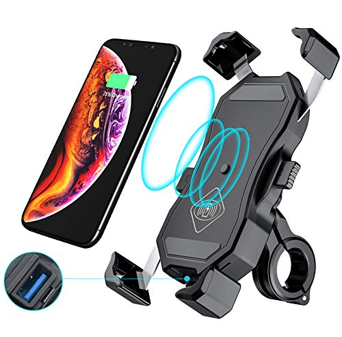 Jitehsha Motorcycle Wireless Qi/ USB Quick Charger Phone Holder Handlebar/ Rear-View Mirror Cellphone Mount with Waterproof Switch 10A Fuse Fast Charging for iPhone Samsung 3.5-6.8 inch Phones