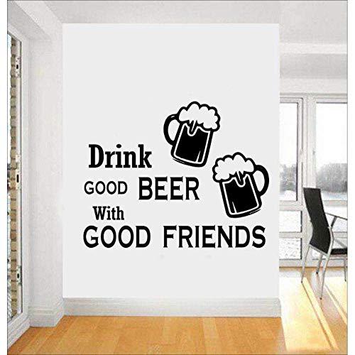 Calcomanía para la cocina en la pared Beber buena cerveza con buenos amigos para cenar Cita de amigo Etiqueta de la pared del vino Etiqueta de vinilo