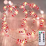 TURNMEON 26 Ft 80 Led Candy Cane String Lights Christmas Decor Battery Operated Fairy Lights Remote Control with Timer 8 Modes Holiday Xmas Decoration Indoor Outdoor Home Party Bedroom (Warm White)