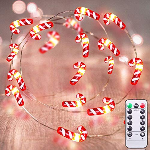TURNMEON 26 Ft 80 LED Candy Cane String Lights Christmas Decor Battery Operated Fairy Lights 8 Flash Modes Waterproof Holiday Xmas Decoration Indoor Outdoor Home Party Bedroom (Warm White)