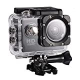Action Camera 12MP Waterproof 30m Outdoor Sports Video DV Camera 1080P Full HD LCD Mini Camcorder with 900mAh Rechargeable Batteries and Mounting Accessories Kits(Black,)