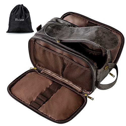 Elviros Kulturbeutel PU-Leder für Herren große wasserdichte Reise-Kulturtasche Waschtasche, Kosmetiktasche mit einem Nass-Trockenbeutel, Dunkel Grau