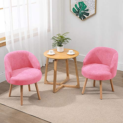 QIHANG-UK 2 Pcs Modern Fabric Armchairs, Small Living Room Chairs Set of 2 with Solid Wood Legs, Occasional Chairs Sofa Lounge Tub Chairs Fireside Chairs, Pink