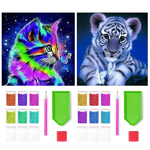 4URNEED 5D Diamond Painting Full Set 2 Stück 5D Diamant Painting Bilder 30cm x30cm,Diamant Malerei Katze und Tiger für Kinder Erwachsene, Mosaik Kreuzstich Strass für Hause Wand Dekoration
