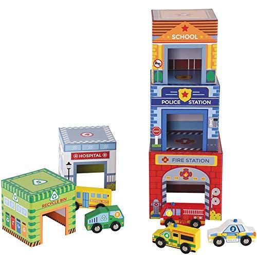 Holz Spielzeugautos und Würfel zum Schachteln und Sortieren - Fahrzeugen und Niststapeln Gebäuden inkl. Polizeiauto Rettungswagen Feuerwehrauto, Geschenk für Kleinkinder, passt Holzzug Set