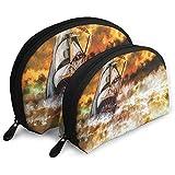Pintura Abstracta Un Barco Storm Ocean Bolsas portátiles Bolsa de Maquillaje Bolsa de Aseo Bolsas de Viaje portátiles multifunción con Cremallera