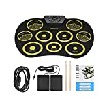 Easy to Play Electronic Drum Set Roll Up Drum Kit Pad Foldable Portable Kids Practice Drum USB Drum Toy (Yellow)