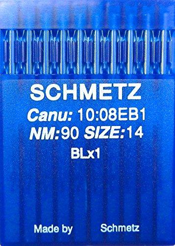 SCHMETZ Agujas para máquinas de coser (10 unidades, BLx1 St.90, para Bernette Overlock MO 203 y MO 204, para Juki Lock MO 102-104, MO 134 y Riccar Lock F4/RL 340 y Rl 343/-D)